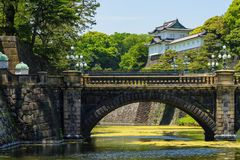 Nujibashi bridge and Imperial palace. Nujibashi, means the Dobule Bridge, the main to access Imperial Palace in Tokyo, Japan Stock Images