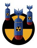 Nuke Bombs and sign nuclear threat royalty free illustration
