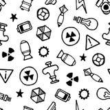 Nuklear-Elemente übergeben gezogenes nahtloses Muster, weißen Hintergrund Stockfotografie