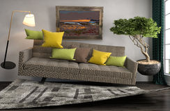 Nul Ernstbank die in woonkamer hangen 3D Illustratie Royalty-vrije Stock Foto's
