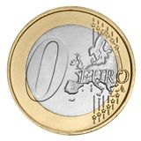 Nul euro muntstuk Stock Foto's