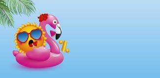Nul percent of 0% ontwerp van zon op opblaasbare flamingo Stock Foto
