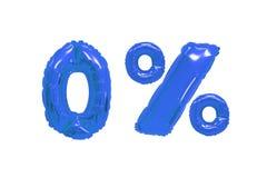Nul percenten van ballons donkerblauwe kleur stock fotografie