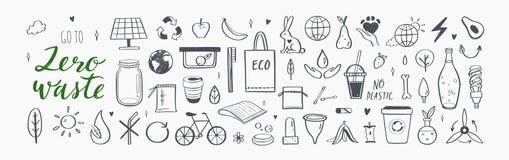 Null überschüssige Vektorhandgezogener infographic Satz Sammlung eco und nat?rliche Elemente Gehen Konzept gr?nes stock abbildung