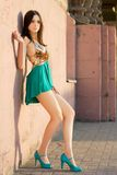 Null. Alluring young leggy brunette posing near the wall outdoors stock photo