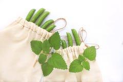 Null ?bersch?ssiges Konzept, wiederverwendbare Baumwolltaschen f?r das freie Plastikeinkaufen, Erbsen, retten den Planeten, eco A stockfotografie