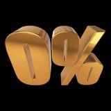 Null percent on black background. 3d render illustration Stock Image