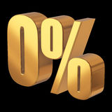 Null percent on black background. 3d render illustration Royalty Free Stock Images