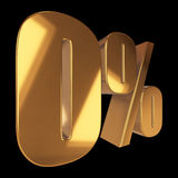 Null percent on black background. 3d render illustration Stock Images