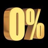 Null percent on black background. 3d render illustration royalty free illustration