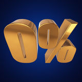Null percent on blue background. Gold zero percent on blue background. 3d render illustration Royalty Free Stock Images