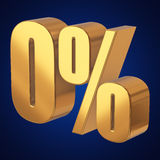 Null percent on blue background. Gold zero percent on blue background. 3d render illustration Royalty Free Stock Photo