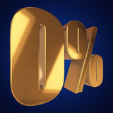 Null percent on blue background. Gold zero percent on blue background. 3d render illustration Stock Images