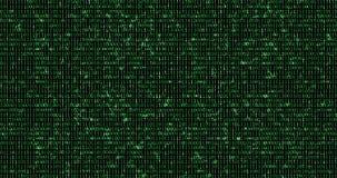 Null und ein grüner binärer digitaler Code, computererzeugter nahtloser Schleifenzusammenfassungs-Bewegungshintergrund, neu vektor abbildung