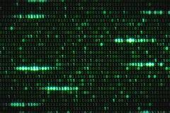 Null und ein grüner binärer digitaler Code, computererzeugter nahtloser Schleifenzusammenfassungs-Bewegungshintergrund, neue Tech Stockfoto
