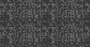 Null und ein weißer binärer digitaler Code auf schwarzem Hintergrund, computererzeugter nahtloser Schleifenzusammenfassungs-Beweg lizenzfreie abbildung