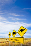 Nullarbor Plain, Iconic Sign and Big SKy. Famous sign on Nullarbor Plain, South Australia, warning motorists of camels, wombats and kangaroos, and big sky royalty free stock photo