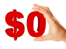 Nulldollarzeichenholding durch weibliche Hand Stockbild