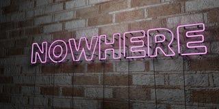NULLE PART - Enseigne au néon rougeoyant sur le mur de maçonnerie - 3D a rendu l'illustration courante gratuite de redevance Image stock