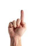 Numéro 1 - Indication par les doigts vers le haut (avec le chemin de découpage) Photo libre de droits