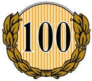 Numéro 100 avec le congé de laurier Photographie stock