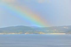 numéro 3 au-dessus de mer d'arc-en-ciel Photos libres de droits