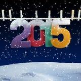 Numéro 2015 accrochant sur une corde à linge Photo libre de droits