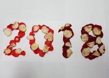 numéro 2018 avec des pétales de rose de rouge Image stock