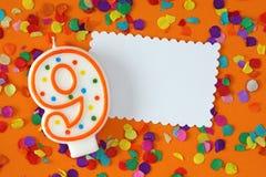 Numéro bougie de neuf anniversaires Images libres de droits
