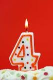 Numéro bougie de quatre anniversaires Photographie stock libre de droits