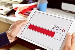 Numéro 2016, comme nouvelle année, dans une tablette Photos stock