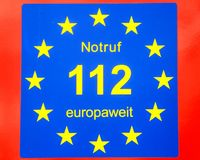 112, numéro d'urgence européen Image libre de droits