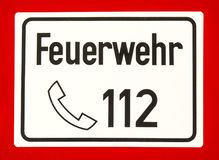 112, numéro d'urgence européen de corps de sapeurs-pompiers Photos libres de droits