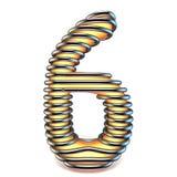 Numéro de jaune orange 6 SIX dans la cage 3D en métal Images stock
