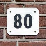 Numéro de maison 80 Image libre de droits