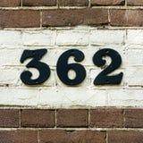 Numéro de maison 362 Photos stock
