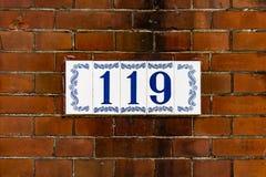 Numéro de maison 119 Photographie stock libre de droits