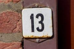 Numéro de maison treize 13 Photographie stock libre de droits