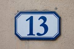 Numéro de maison tridimensionnel treize Images libres de droits