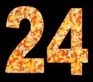 Numéro 24 de pizza avec des champignons, d'isolement Image libre de droits