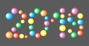 Numéro 2019 des boules colorées sur le fond noir illustration stock