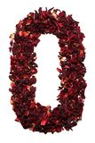 Numéro 0 des fleurs sèches du thé de ketmie sur un fond blanc Nombre pour des bannières, annonces Photo libre de droits