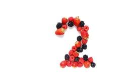 Numéro deux avec des fruits Photographie stock libre de droits