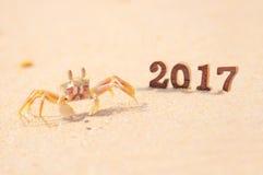 Numéro en bois 2017 sur le fond de plage avec l'idée de crabe de fantôme Images stock