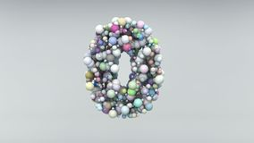 Numéro 0 a fait des perles en plastique, bulles pourpres, d'isolement sur le blanc, 3d rendent Image libre de droits