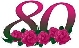 Numéro 80 floral Image libre de droits
