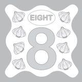 Numéro 8 huit, carte éducative, apprenant le compte illustration libre de droits