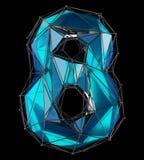 Numéro 8 huit dans la couleur bleue de bas poly style d'isolement sur le fond noir 3d Photographie stock libre de droits