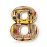 Numéro 8 huit L'alphabet des outils sur la plaquette perforée en métal est Images libres de droits