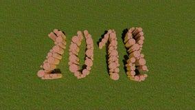 Numéro 2018 la bonne année de brique et d'herbe Photo stock